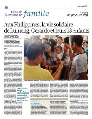 """""""A 17 sous un même toit"""", La Croix, 23/09/14"""